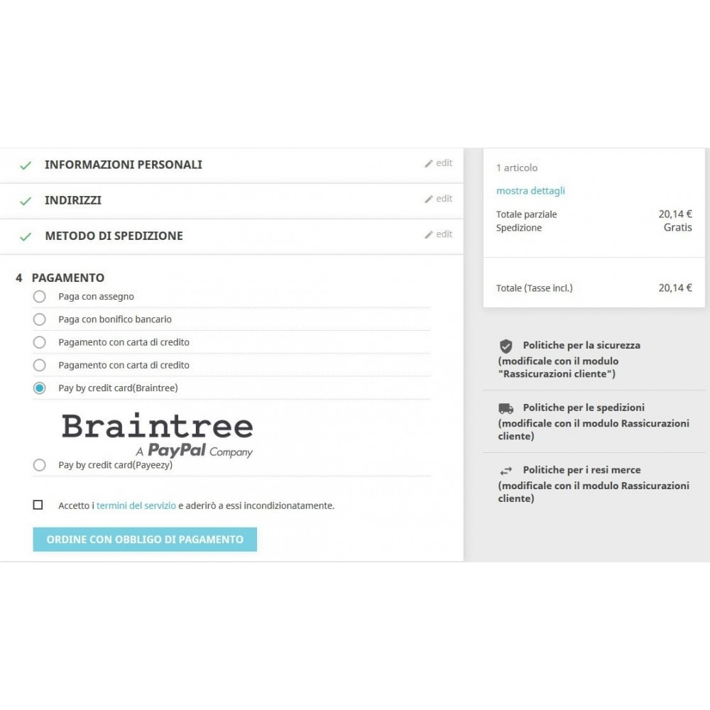 module - Pagamento con Carta di Credito o Wallet - Pagamento Braintree PayPal Company - 2
