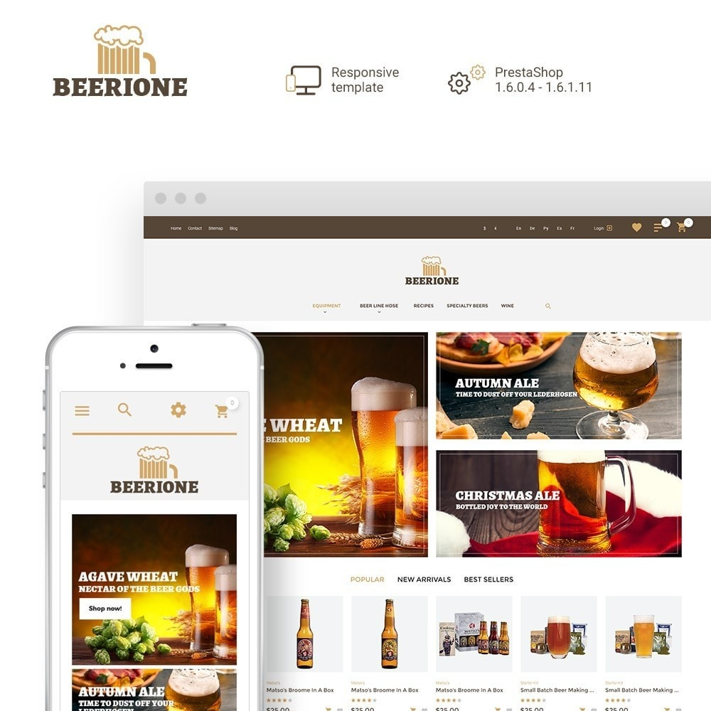 theme - Lebensmittel & Restaurants - Beerione - Brewing Equipment Store PrestaShop Theme - 1