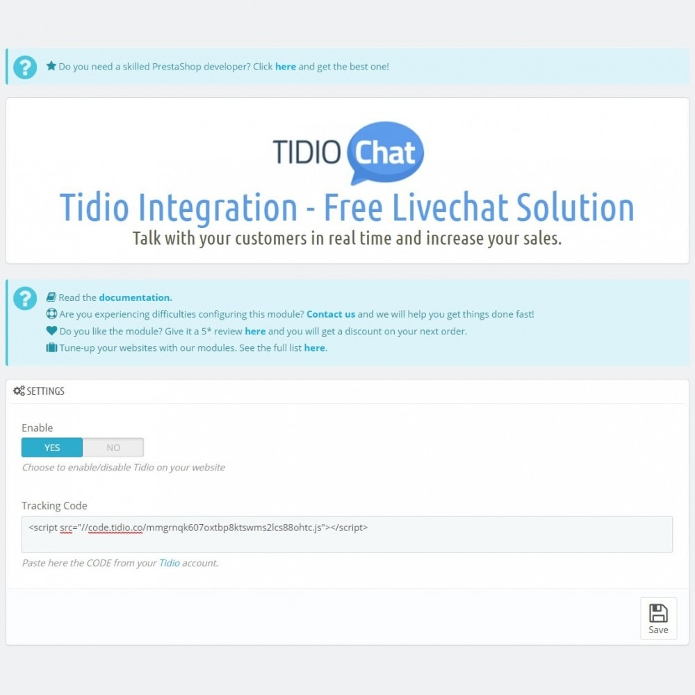 module - Ondersteuning & Online chat - Tidio Integration - Free Livechat Solution - 7
