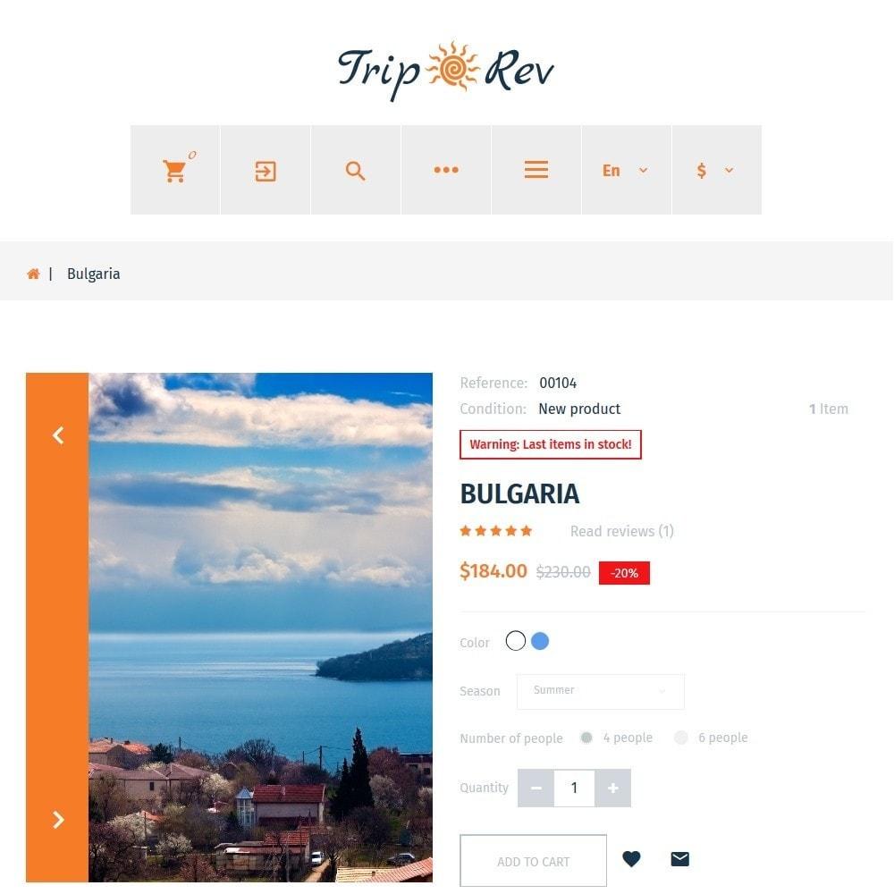 theme - Sport, Attività & Viaggi - TripRev - Modello PrestaShop per Un Sito di Viaggi - 5