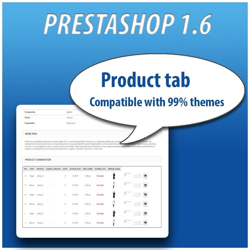 module - Versies & Personalisering van producten - Combinations Table PRO - 10
