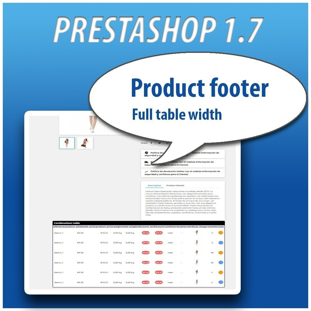 module - Combinaciones y Personalización de productos - Combinations Table PRO - 12