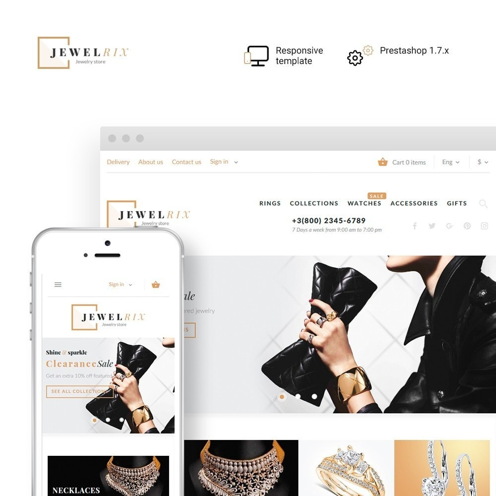 theme - Moda & Calçados - Jewelrix - Jewelry & Beauty Items PrestaShop Theme - 1