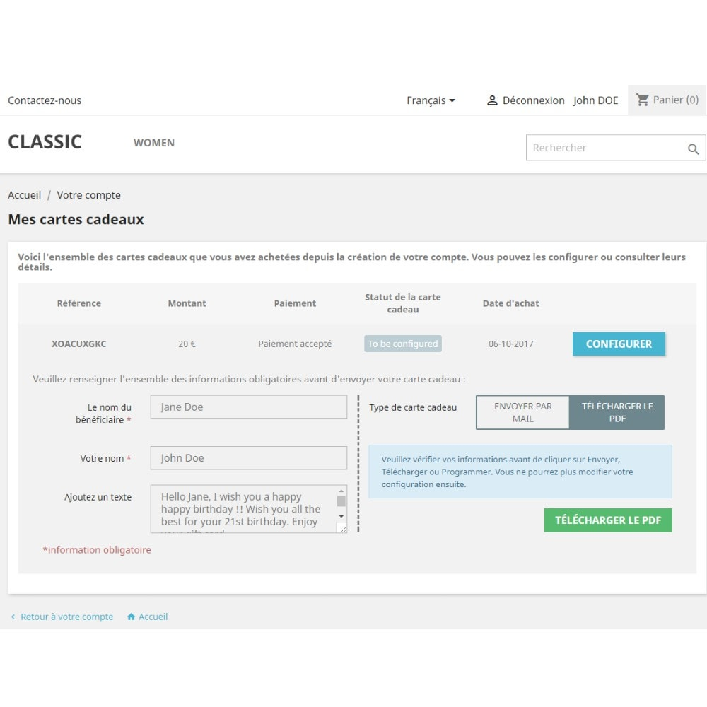 module - Liste de souhaits & Carte cadeau - Carte Cadeau Premium 1.6 - 1.7 - 5