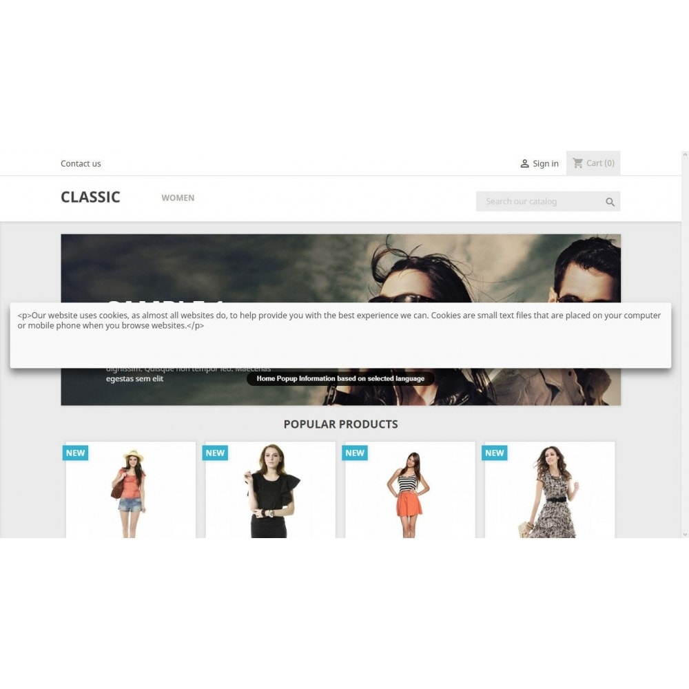 module - Pop-up - Home Page Popup Info based on selected languages. - 2
