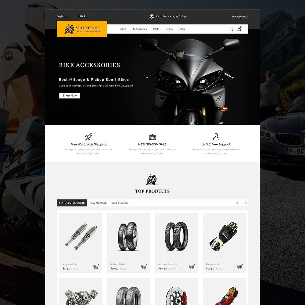 theme - Carros & Motos - Sports Bike Auto Store - 2