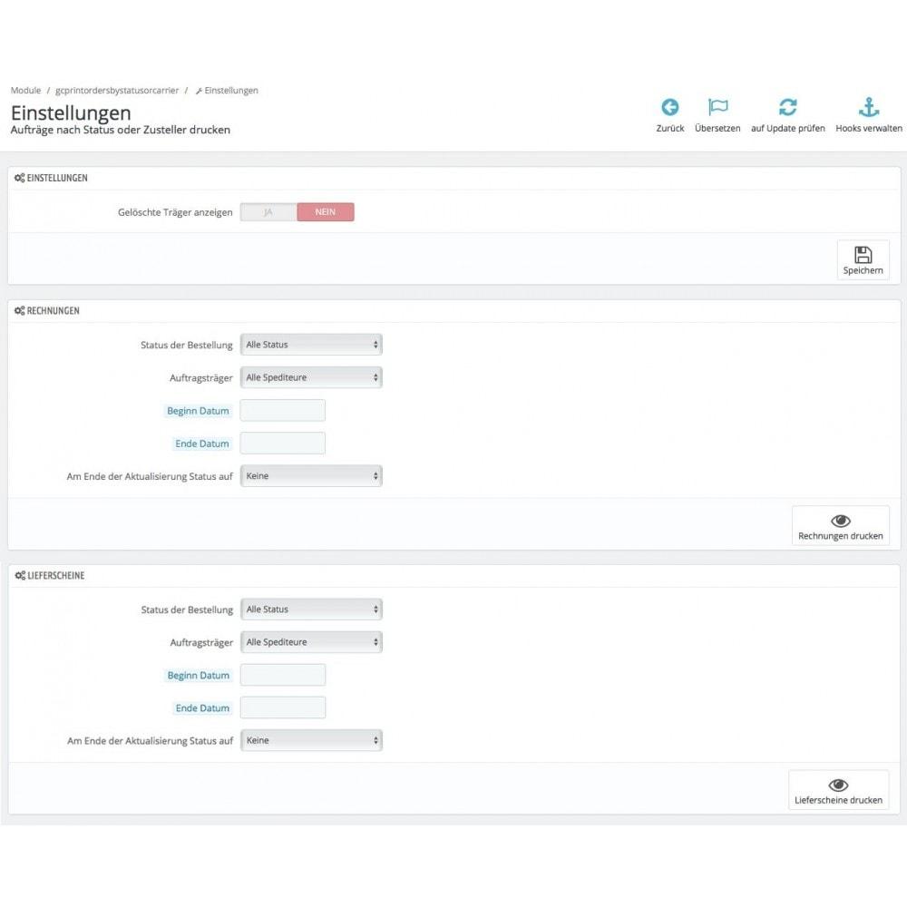 module - Kommissionierung & Versand - Aufträge nach Status und Spediteur drucken - 1