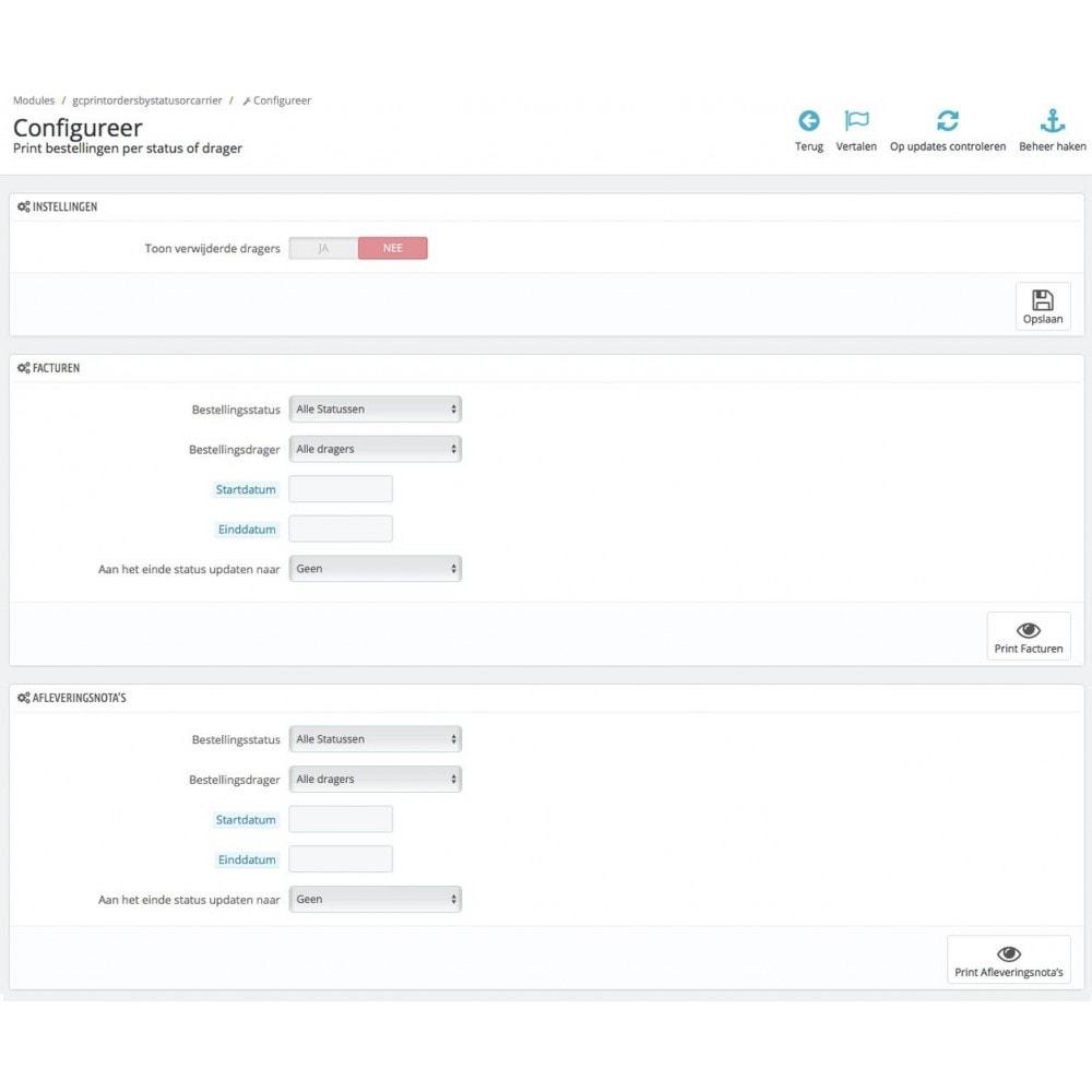 module - Voorbereiding & Verzending - Print bestellingen per status of drager - 1
