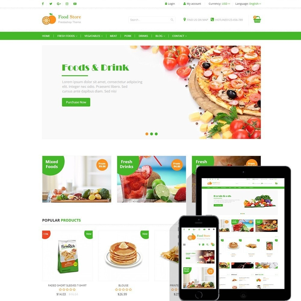 theme - Lebensmittel & Restaurants - Food store - Fresh foods,  drinks and fruit store - 1