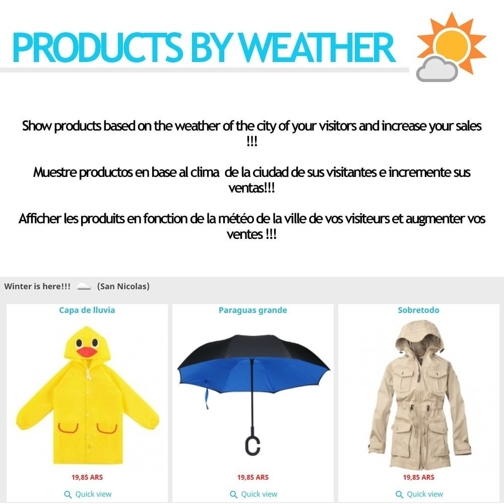 module - Personalisering van pagina's - Products by weather - 1