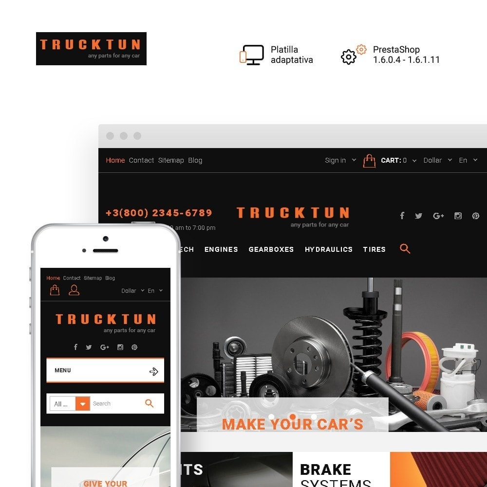 theme - Coches y Motos - Trucktun - para Sitio de Repuestos de coches - 1