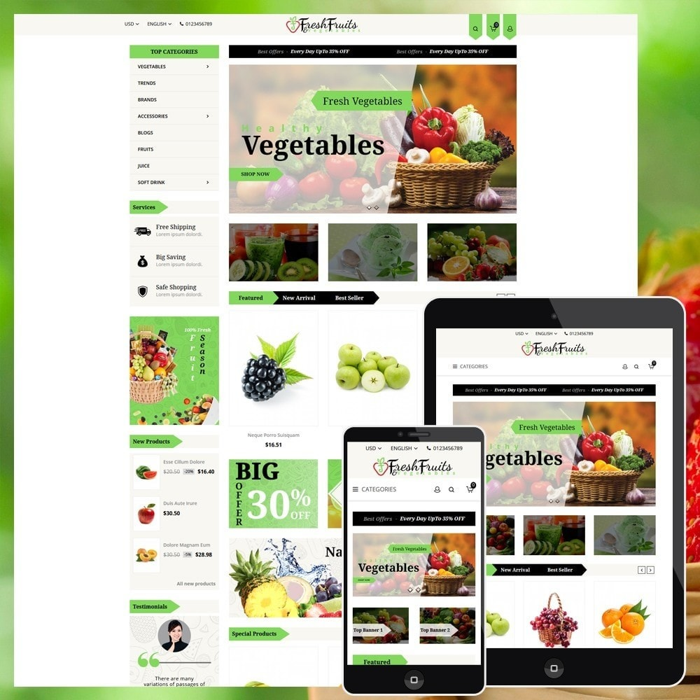 theme - Продовольствие и рестораны - Fruits & Vegetables Shop - 1