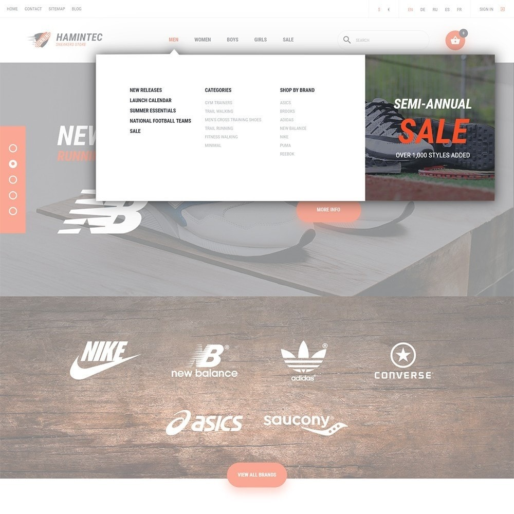 theme - Мода и обувь - Hamintec - шаблон на тему интернет-магазин кроссовок - 4