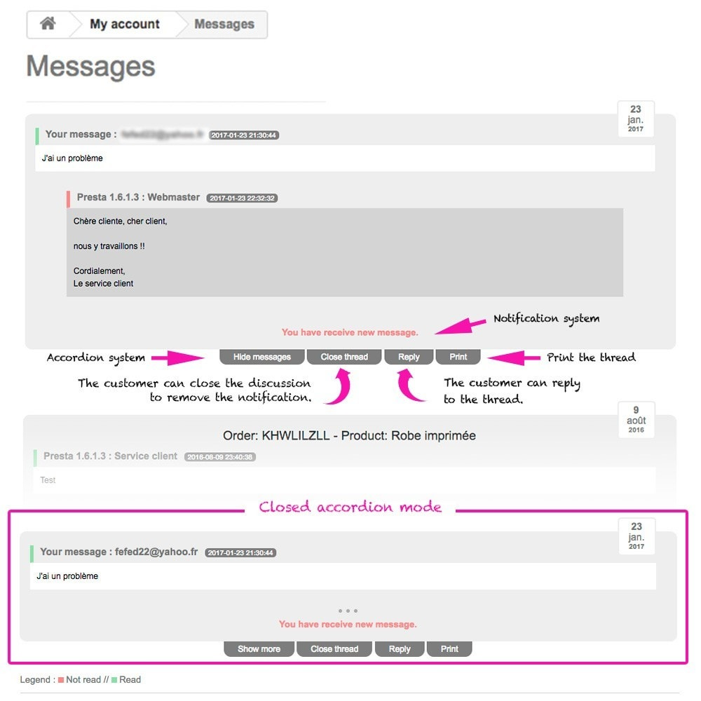module - Kundenservice - Display thread and messages in user account - 2