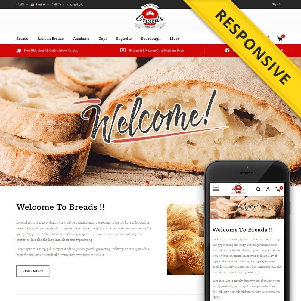 theme - Alimentation & Restauration - Fresh Bakery store - 1