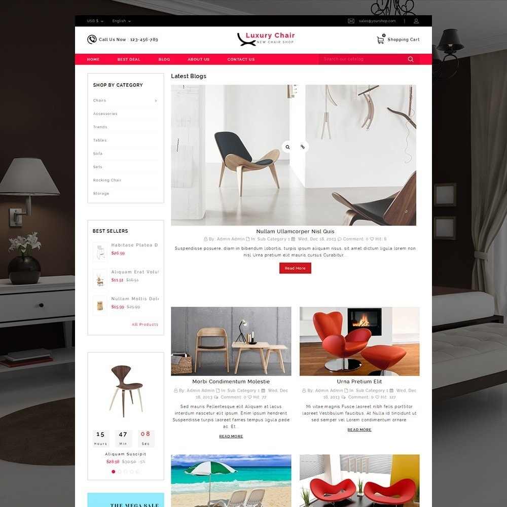 theme - Huis & Buitenleven - Luxury Chair Online Store Template - 9