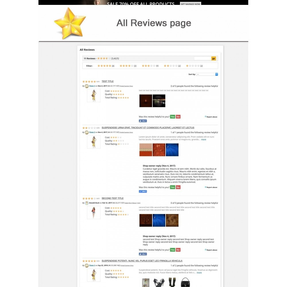 module - Recensioni clienti - Product Reviews Advanced PRO + Reminder + User Profile - 10