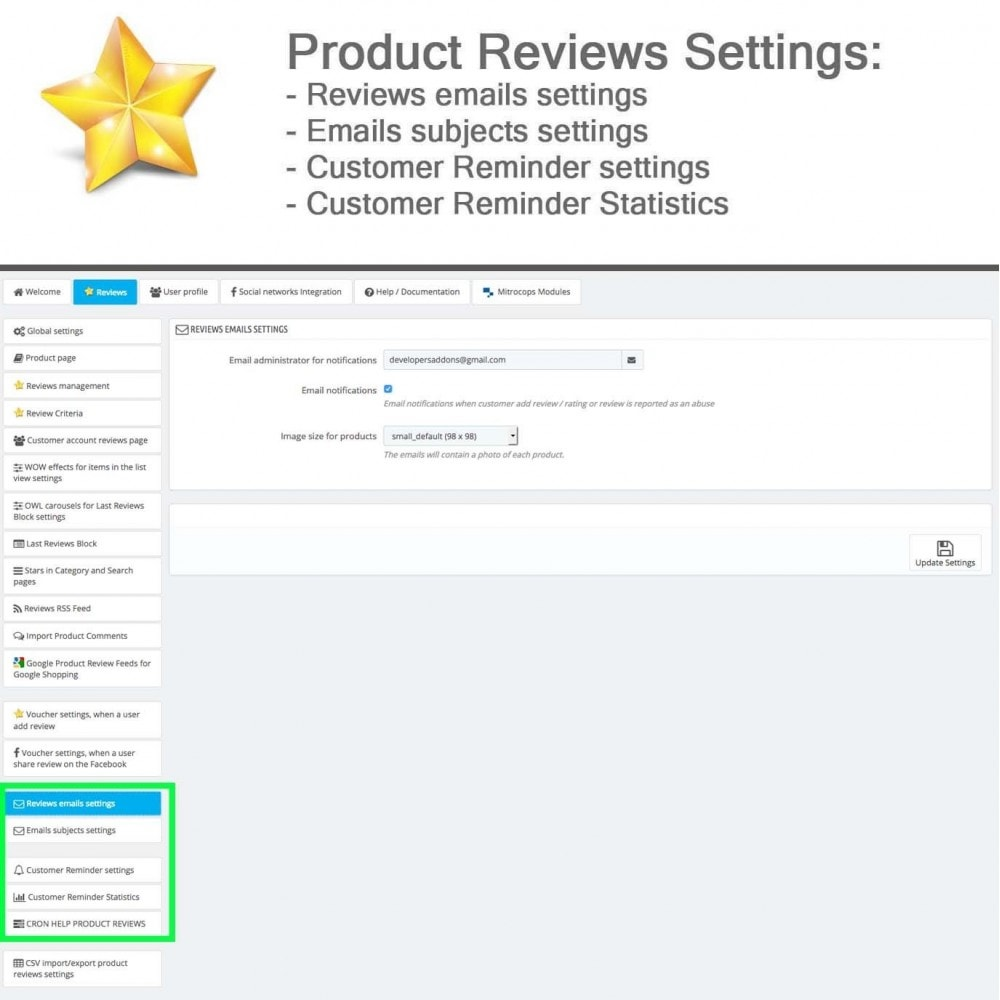 module - Customer Reviews - Product Reviews Advanced PRO + Reminder + User Profile - 30