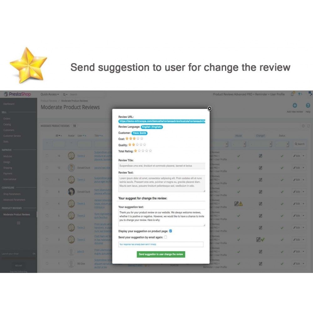 module - Recensioni clienti - Product Reviews Advanced PRO + Reminder + User Profile - 39