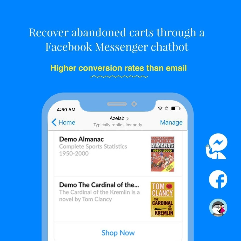 module - Remarketing & Paniers Abandonnés - Abandoned Cart Reminder  & Messenger Chat Bot - 1