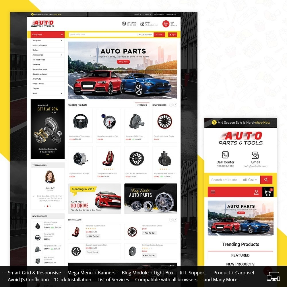 theme - Carros & Motos - Auto Parts Mega Store - 1