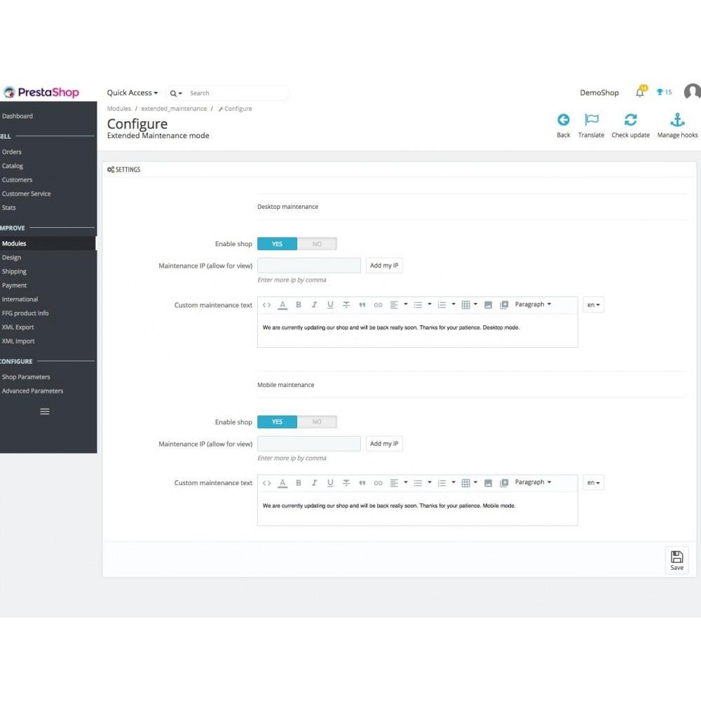 module - Personalização de página - Extended Maintenance mode - 1