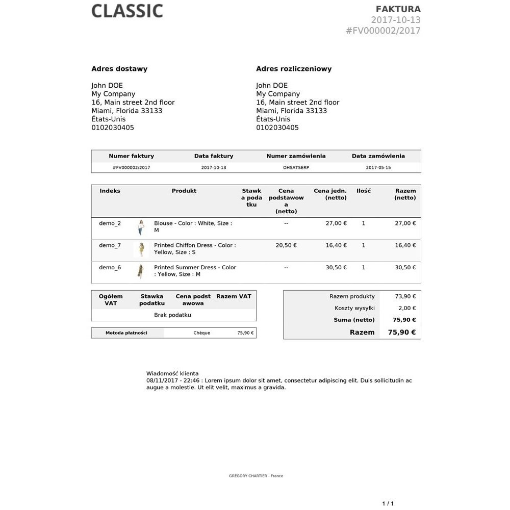 module - Zarządzanie zamówieniami - Wiadomości Klienta na Fakturze i / lub Dowodzie Dostawy - 4