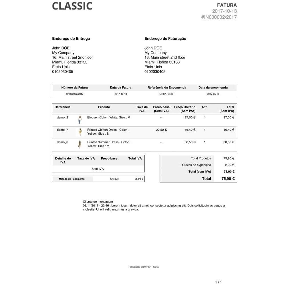 module - Gerenciamento de pedidos - Mensagens do Cliente na Fatura e/ou Recibo de Entrega - 4
