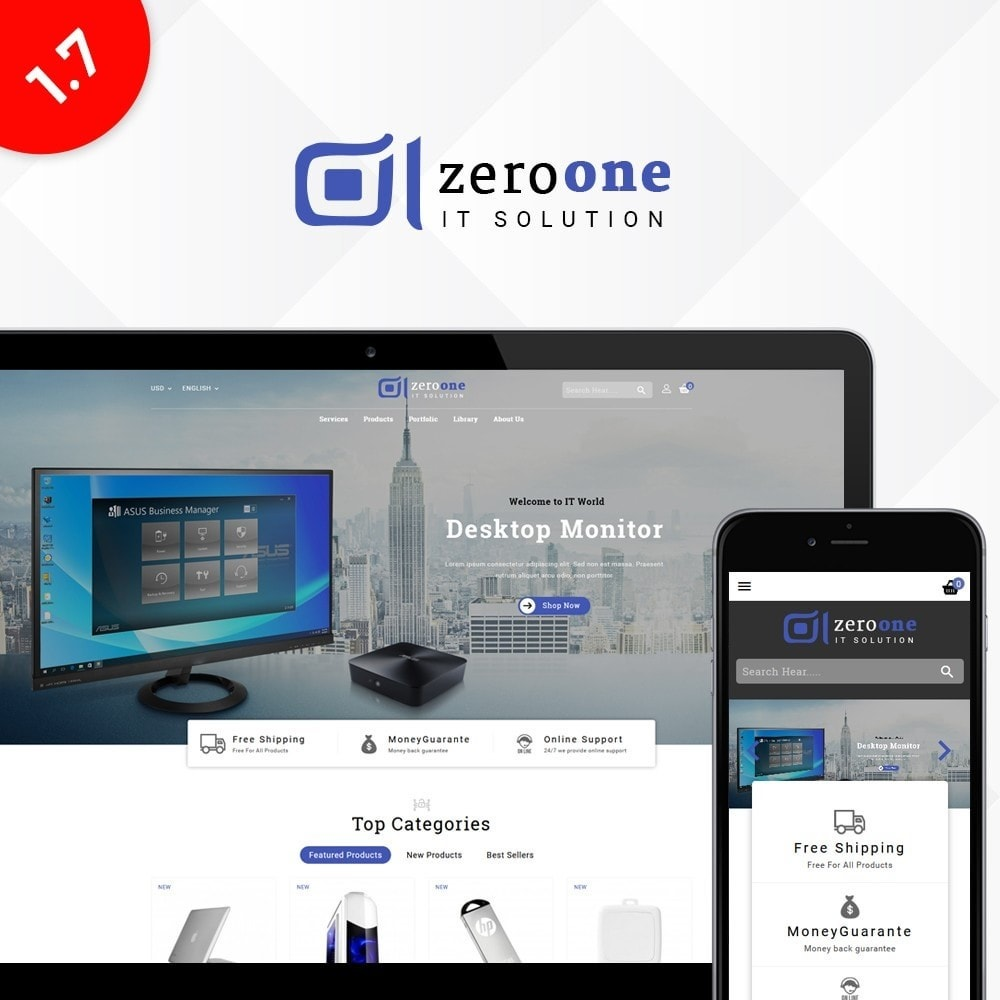 theme - Elektronika & High Tech - Zeroone IT-services Store - 1