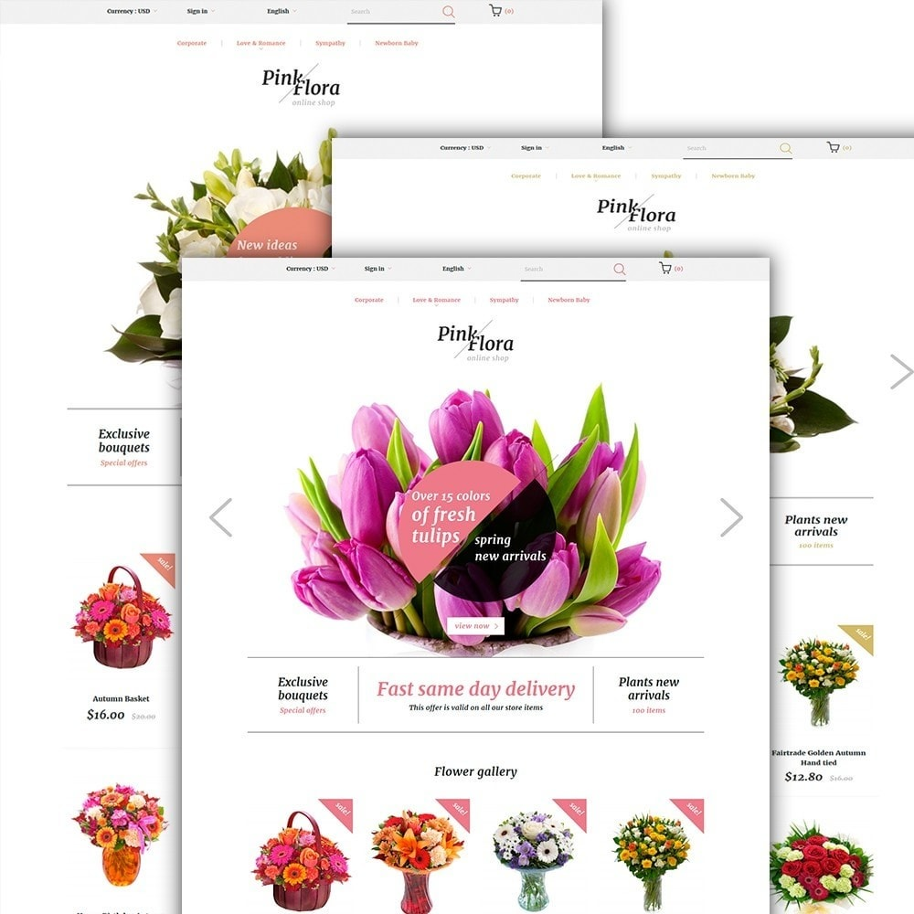 theme - Cadeaux, Fleurs et Fêtes - Pink Flora - 2