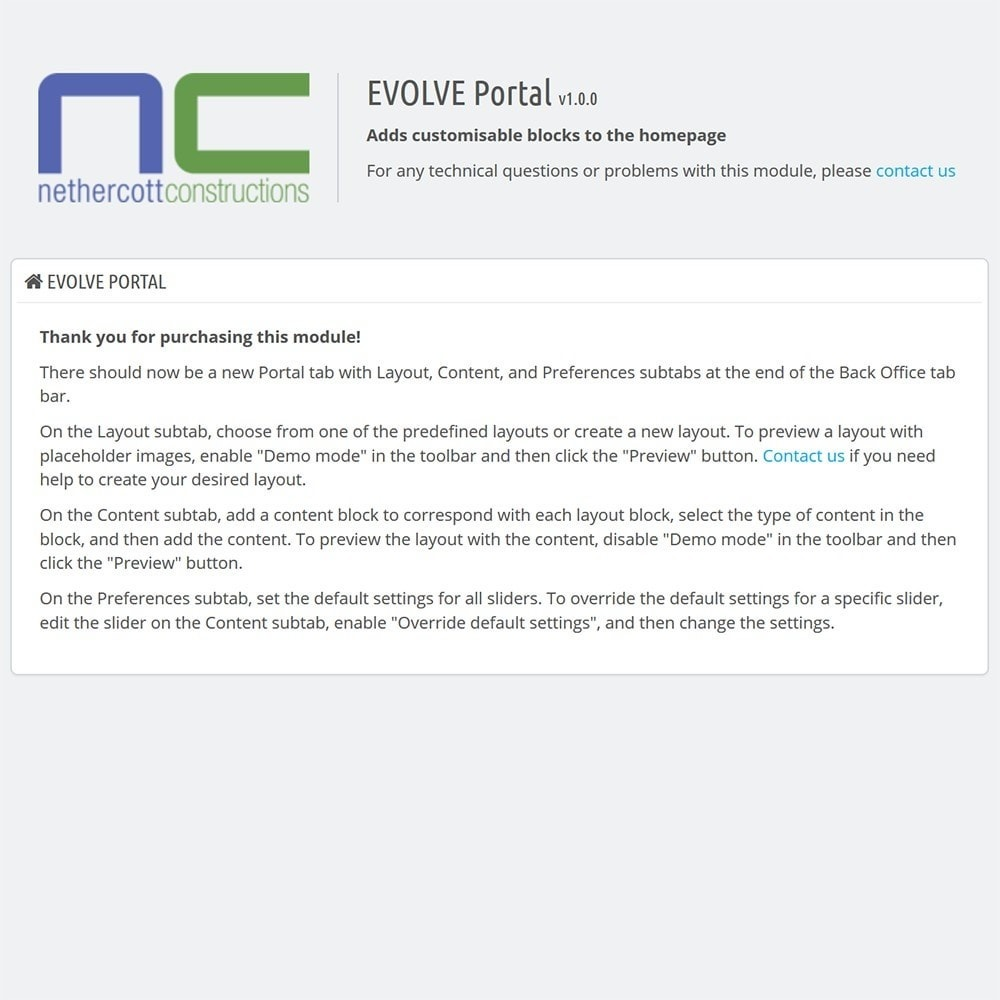 module - Personalizacja strony - EVOLVE Portal - 4