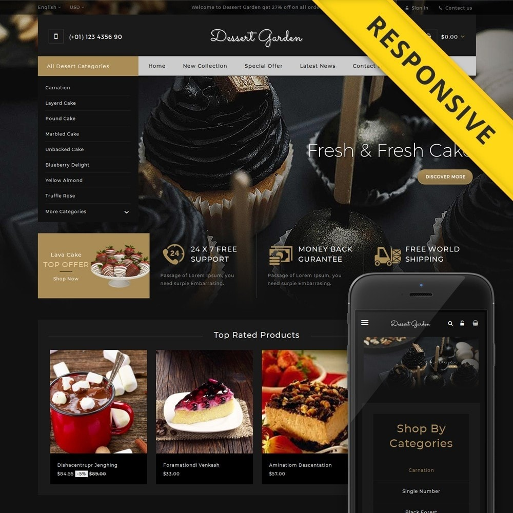 theme - Food & Restaurant - Dessert Garden - Bakery Store - 1