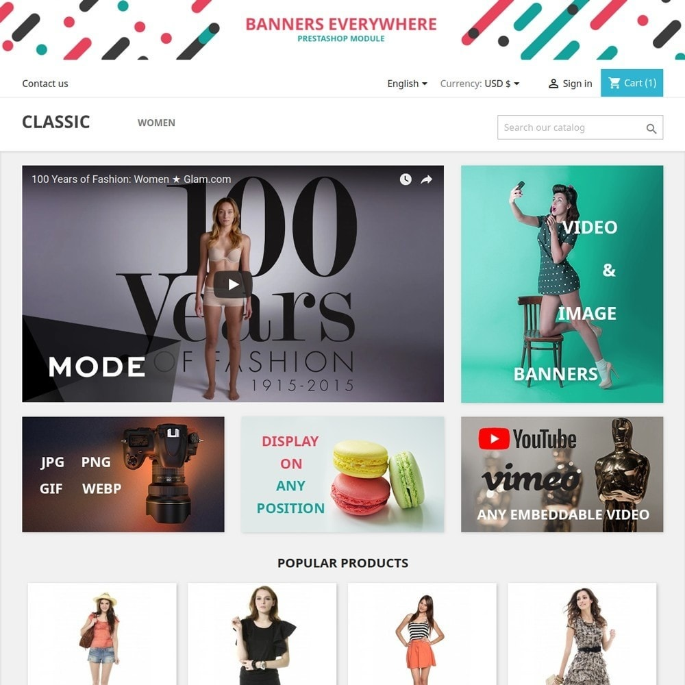module - Blocs, Onglets & Bannières - Banners Everywhere - Image and Video advertising - 1