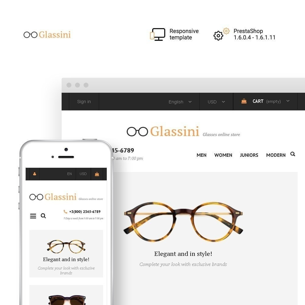 theme - Moda & Calzature - Glassini - per Un Sito di Occhiali da Vista - 2