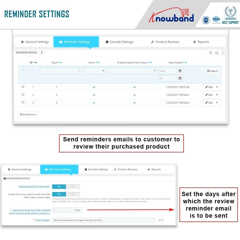 module - Opiniões de clientes - Knowband - Product Review Reminder and Incentives - 8