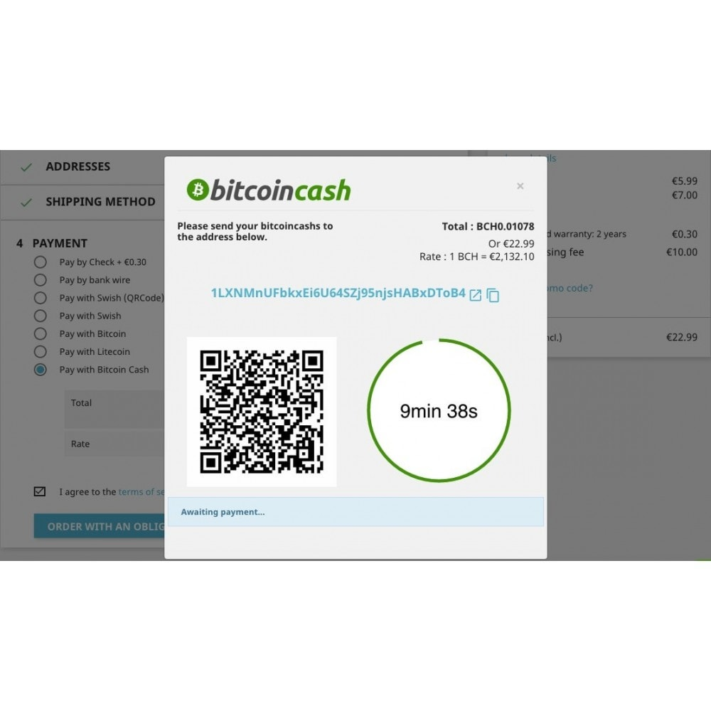 module - Andere Zahlungsmethoden - Bitcoin Cash - Accept bitcoin directly into your wallet - 2