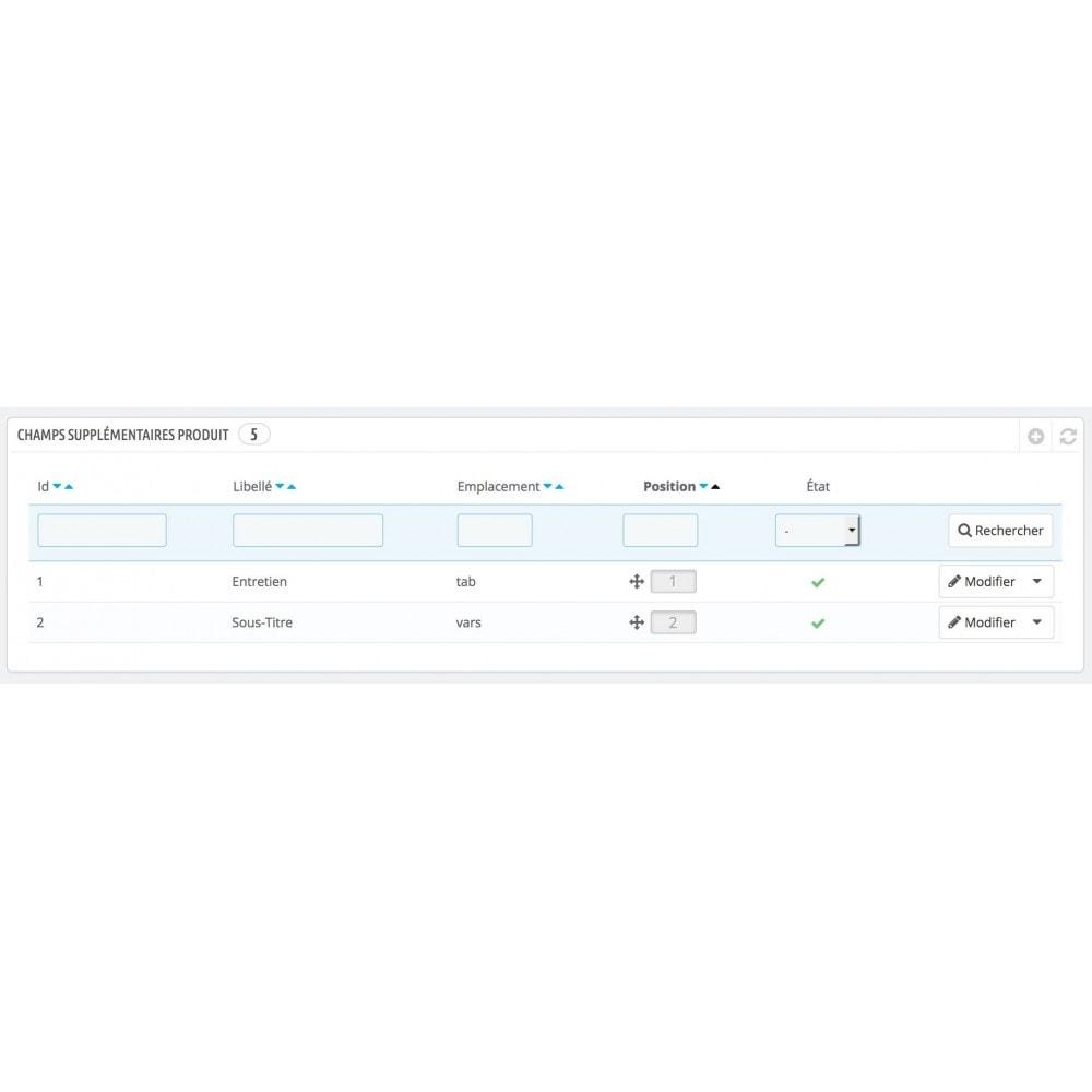 module - Informaciones adicionales y Pestañas - Otros campos para productos - 3