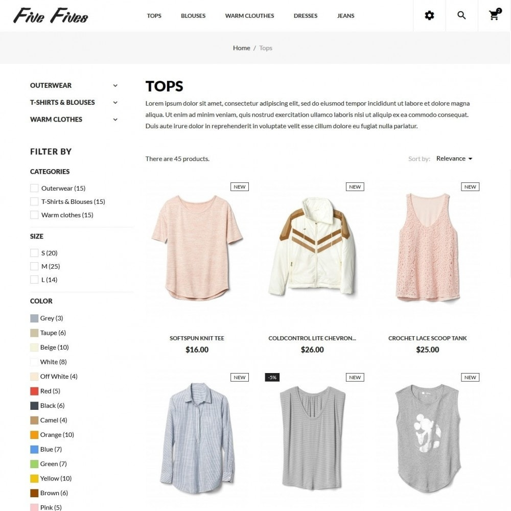 theme - Mode & Schoenen - Five Fives Fashion Store - 5