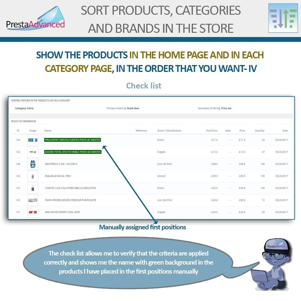 module - Personalisering van pagina's - Sort products, categories and brands in the store - 7