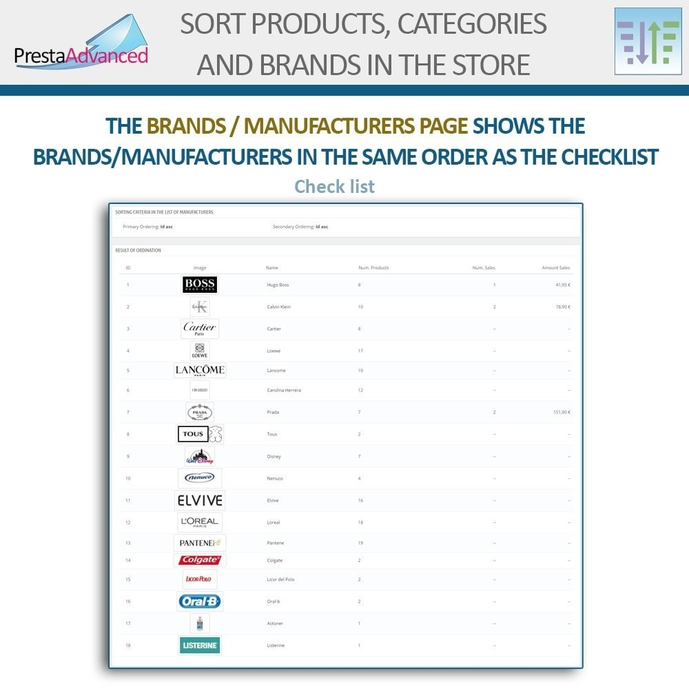 module - Personalisering van pagina's - Sort products, categories and brands in the store - 17