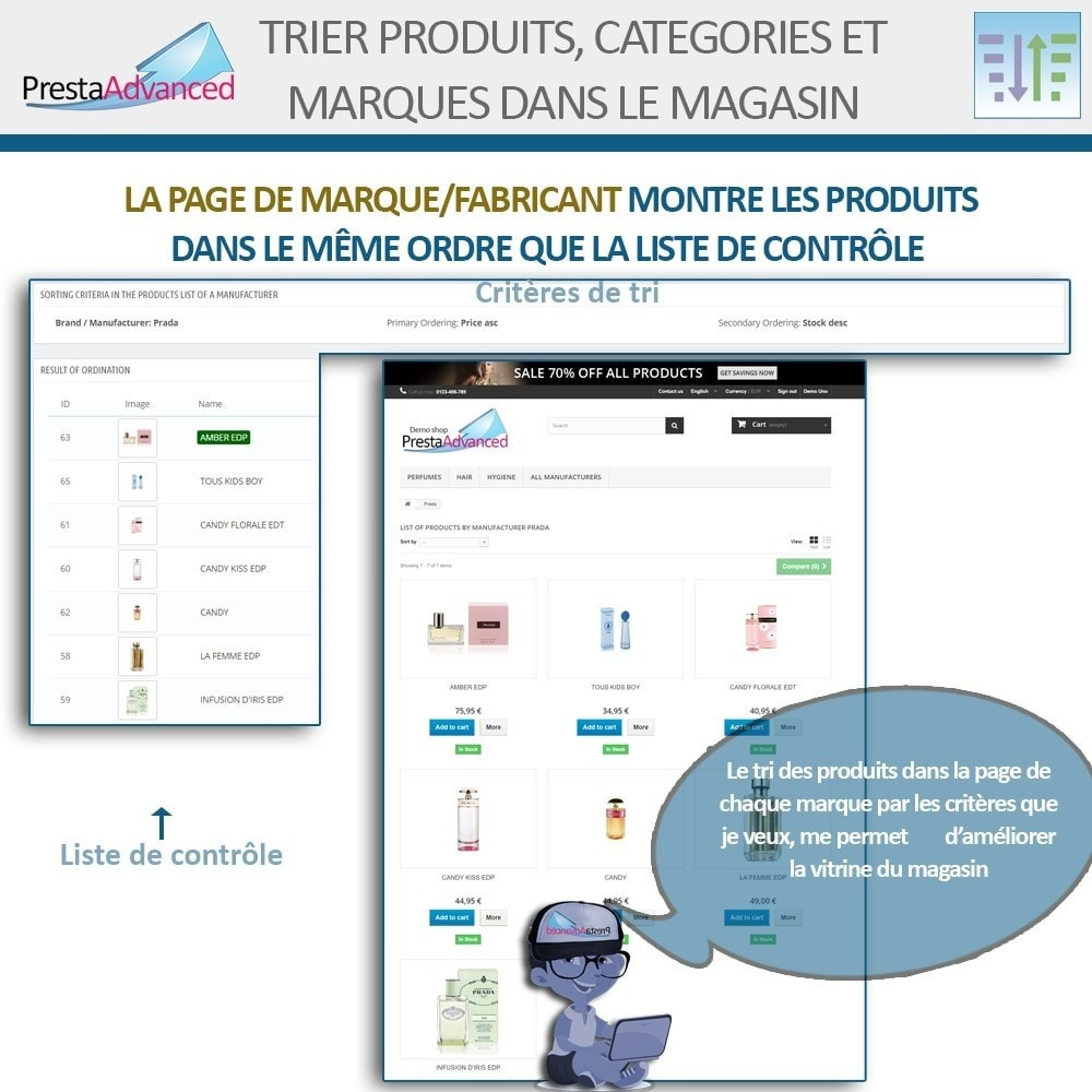 module - Personnalisation de Page - Tri de produits, catégories et marques dans le magasin - 11