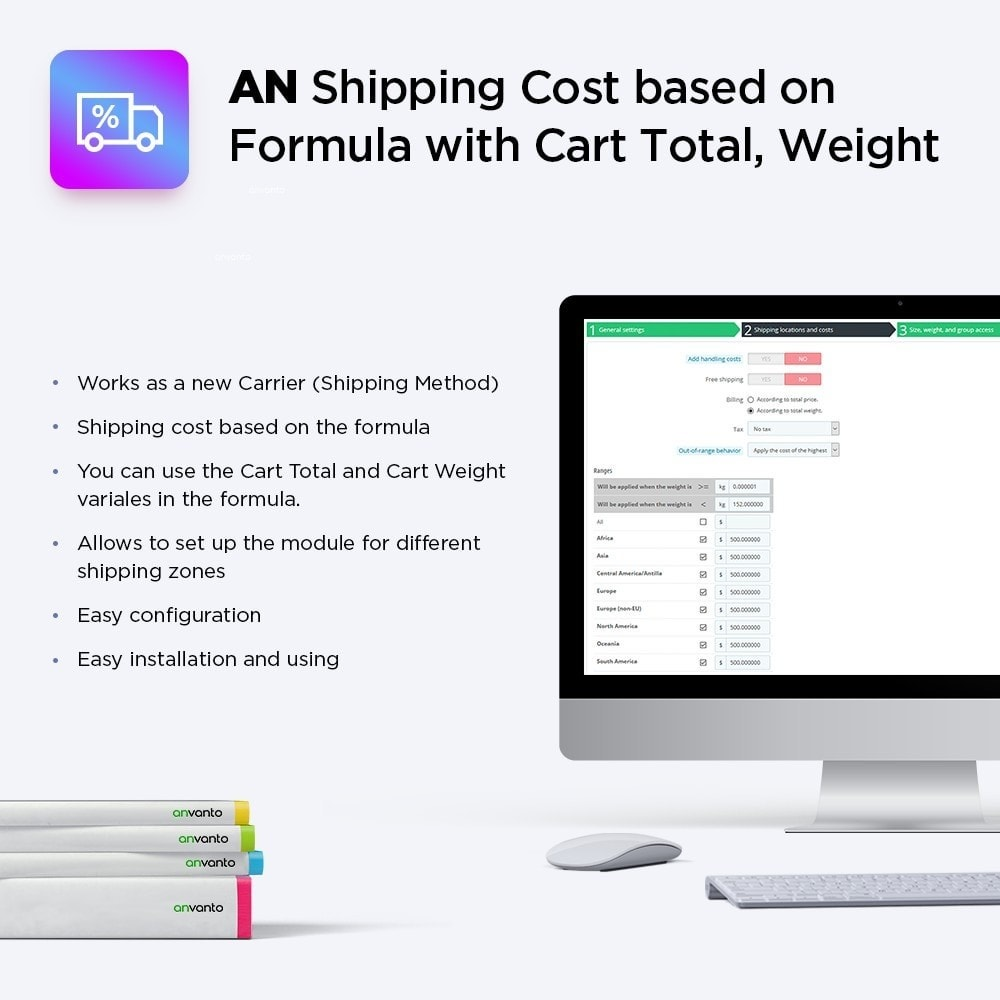 module - Shipping Costs - Shipping Cost based on Formula with Cart Total, Weight - 1