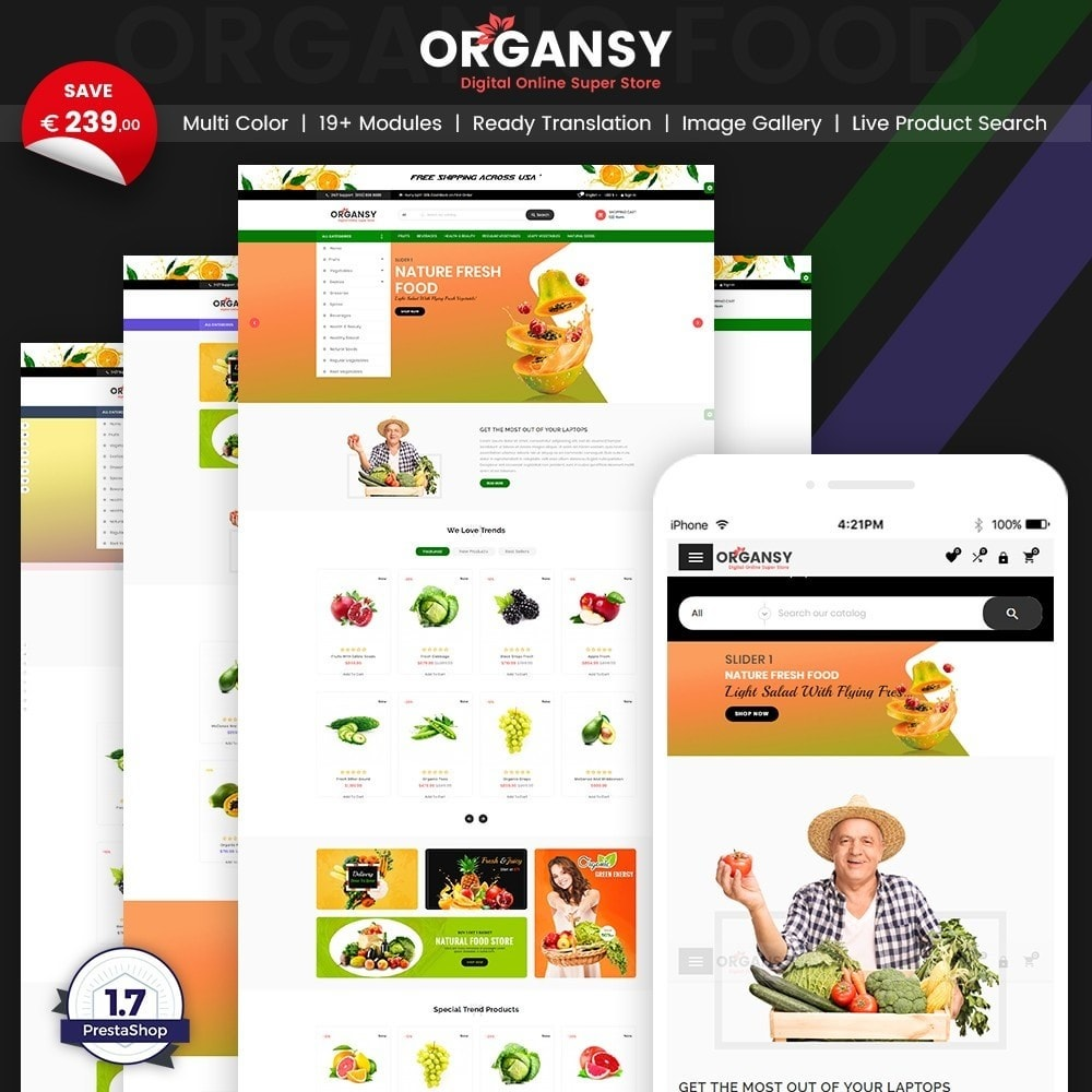 theme - Продовольствие и рестораны - Organsy – Grocery/Food/Gourmet/Drinks Super Store - 1