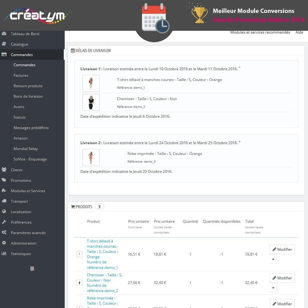 module - Date de livraison - Date de livraison avancée - 10
