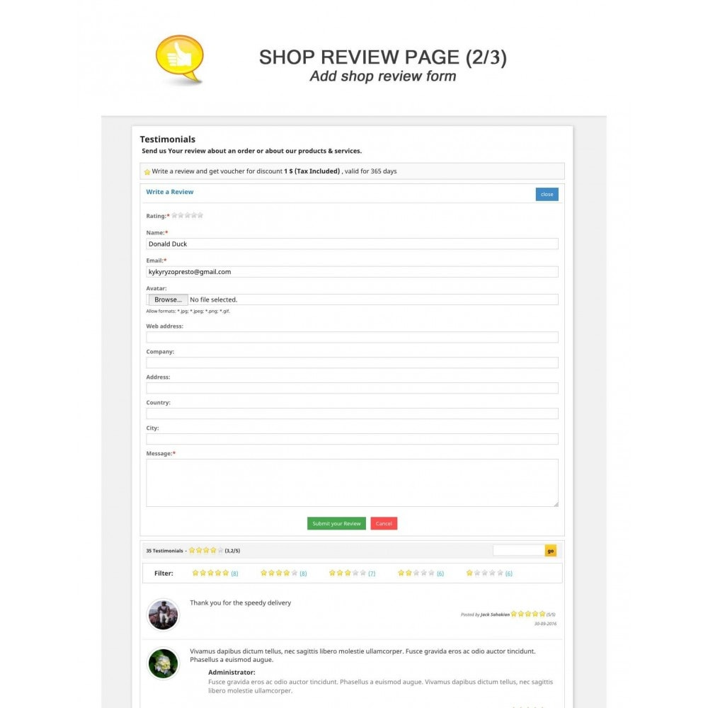 module - Отзывы клиентов - Shop Reviews + Avatars + Reminder + Rich Snippets - 2