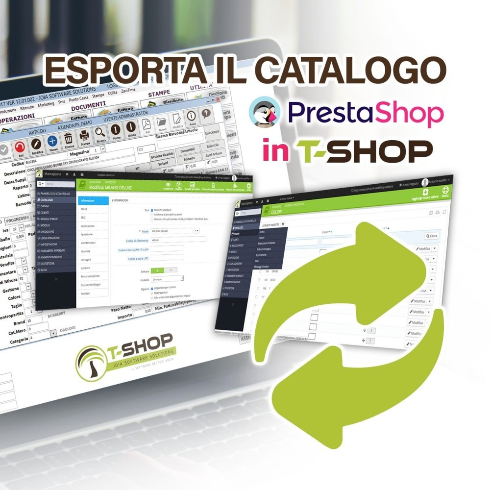 module - Migración y Copias de seguridad - Export all products from PrestaShop to T-Shop - 1