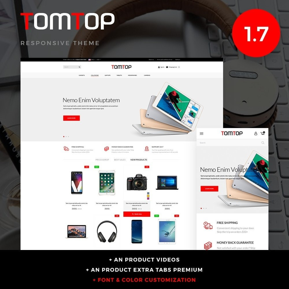 theme - Elektronika & High Tech - Tomtop - High-tech Shop - 1