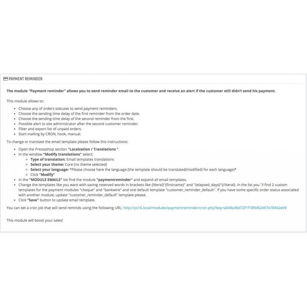 module - Processus rapide de commande - Relance de paiements - 1