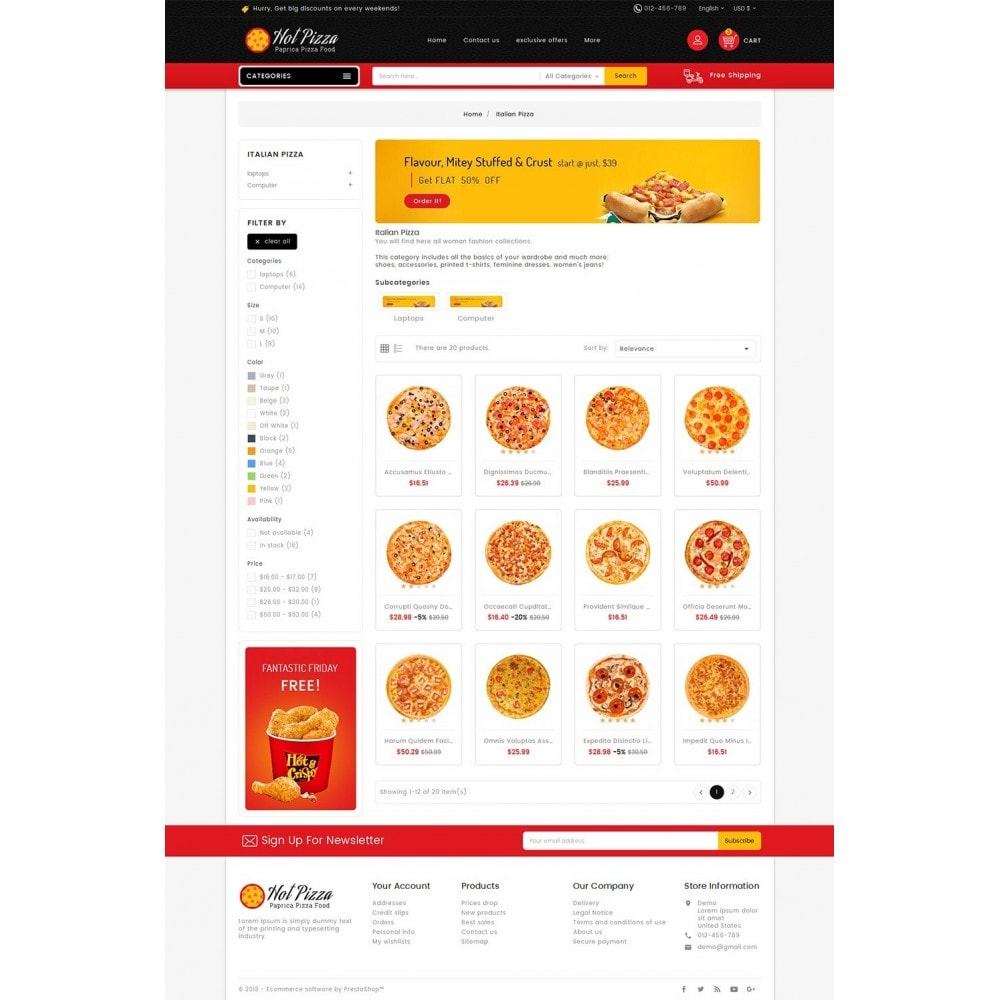 theme - Продовольствие и рестораны - Paprika Pizza - Fast Food - 3