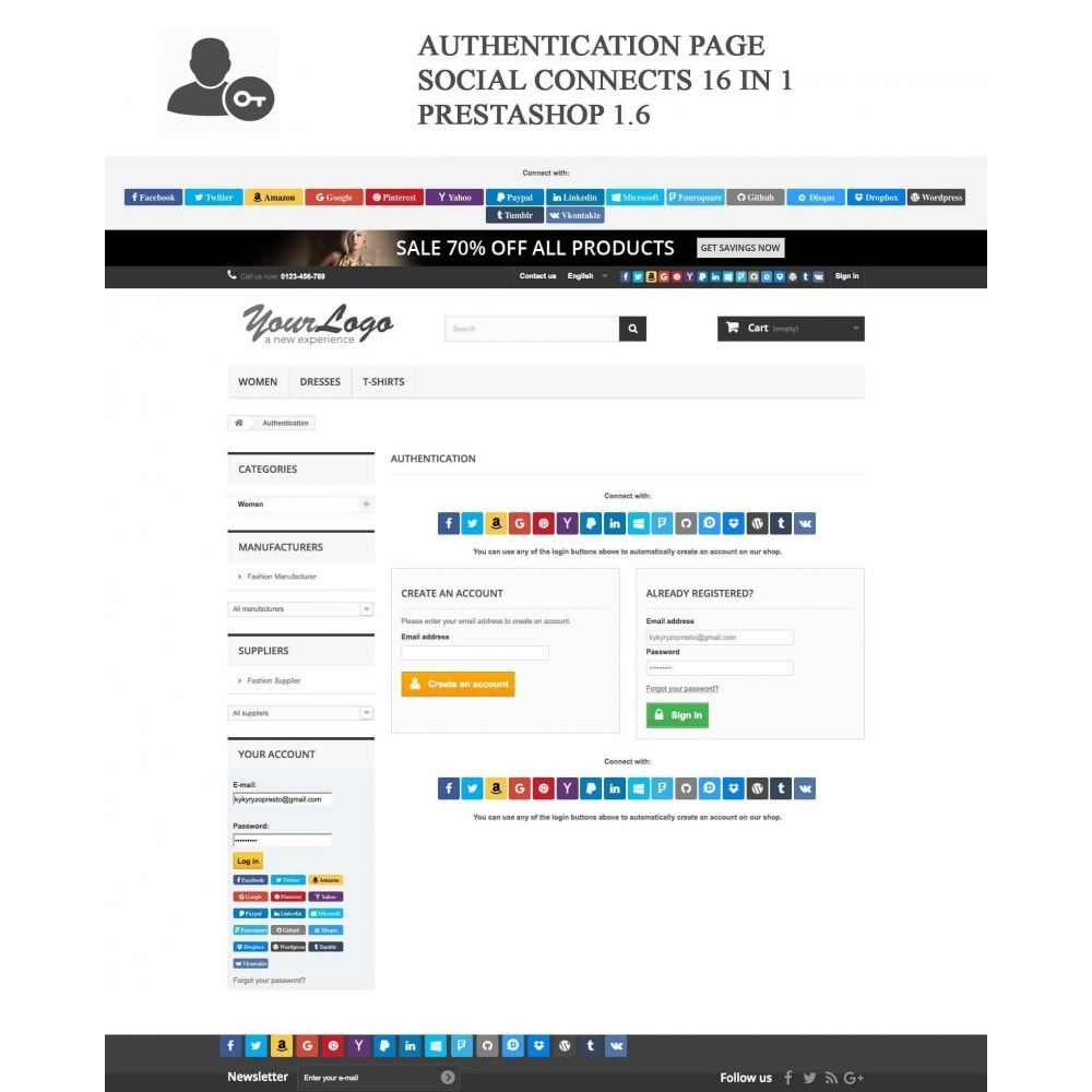 bundle - Login/Connessione - Pack: Blog PRO, Social Connects, Product Reviews - 2